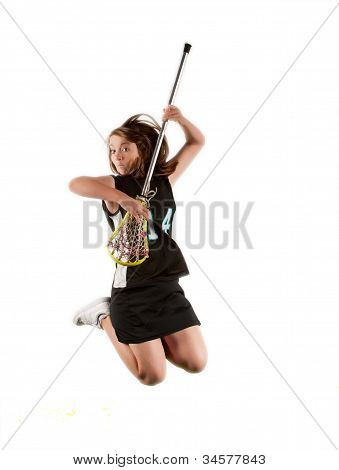 Lacrosse player jumping for joy