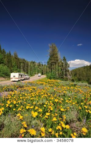 Recreational Vehicles On Scenic Mountain Road