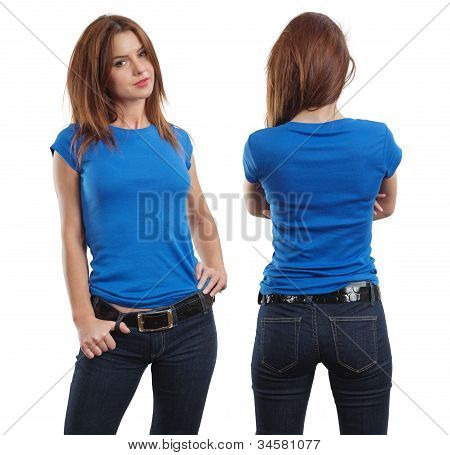 Sexy Female Wearing Blank Blue Shirt