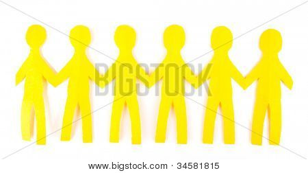 Paper people isolated on white