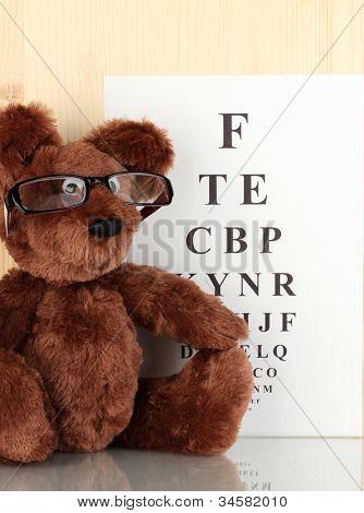 Teddybär mit Brille auf Augenlicht Test Diagrammhintergrund hautnah