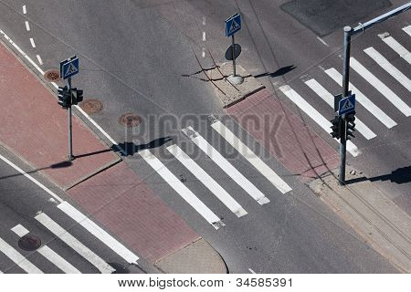 Aerial View On Pedestrian Crossing