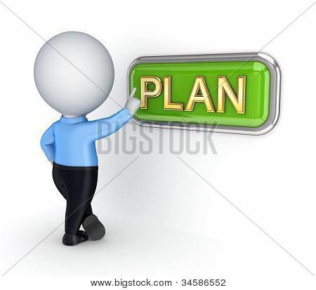 3d small person pushing PLAN button.