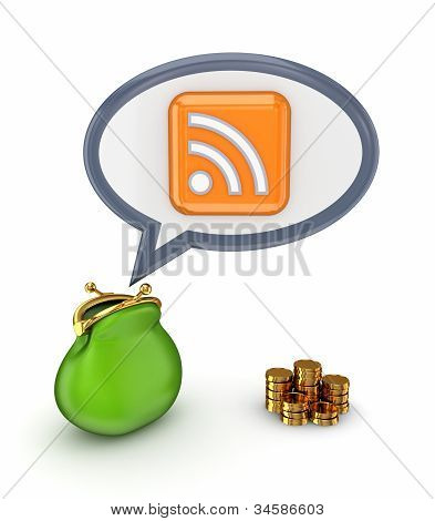 Green purse, gold coins and RSS symbol.