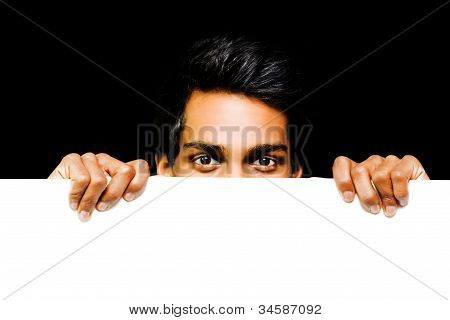 Asian Man Peeping Over Placard