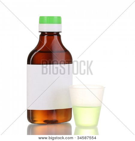 Medical bottle and jigger isolated on white