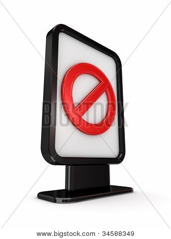 Black lightbox with red stop symbol.
