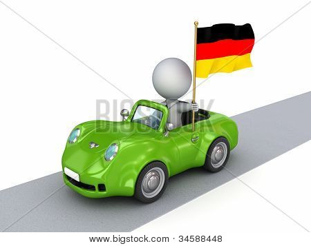 3d small person on orange car with German flag.