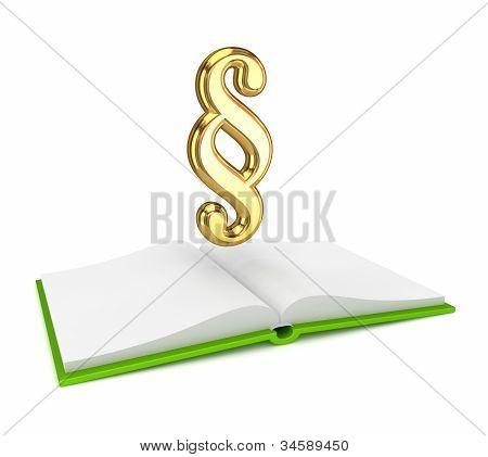 Livro aberto e símbolo de ouro n º.