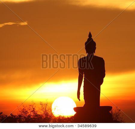 Silhouette Of Buddha Statue