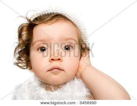 Baby Girl In White Dress And Hat, Isolated