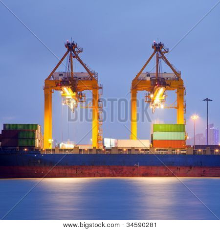Container stacks and crane in shipyard at dusk for cargo Goods and Logistic background