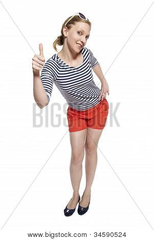 Portrait Of A Young Woman Showing Thumbs Up