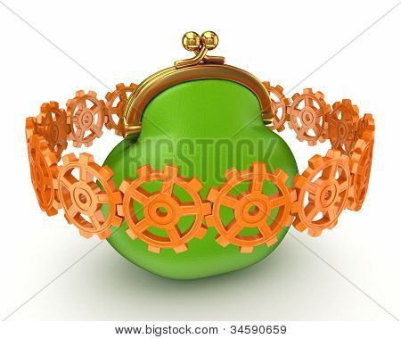 Colorful gears around big purse.