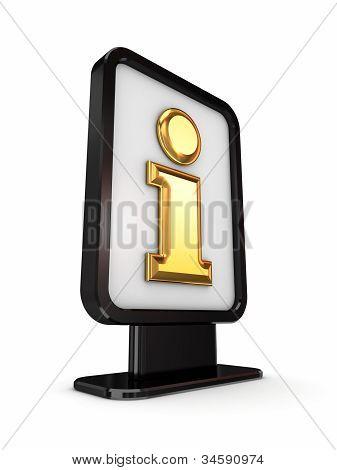 Black lightbox with golden Info symbol.