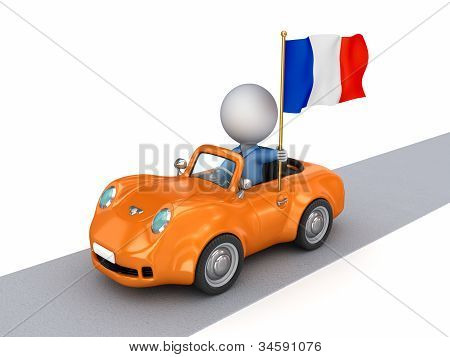 3d small person on orange car with French flag.