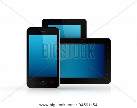 Modern tablet pc and mobile phone.
