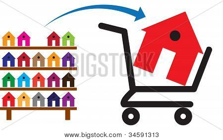 Concept Of Buying A House Or Property On Sale. The Shopping Trolley With A House In It Is Symbolic O