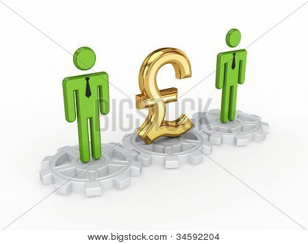 3d small people on a gears and pound sterling sign