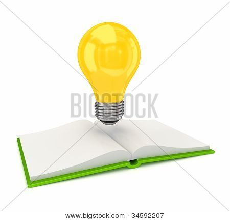 Opened book and idea symbol.