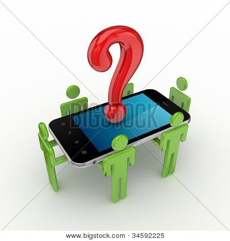 3d small people, mobile phone and query symbol.