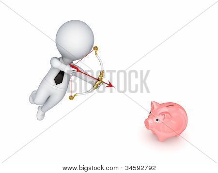 3d small person shooting a pink piggy bank.