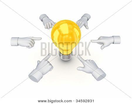 3d hand cursors around idea symbols.