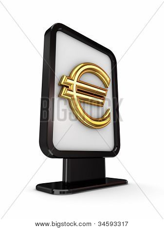Euro sign in a lightbox.