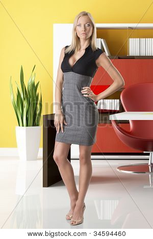 Blonde Business Woman Full-lenght On White Background