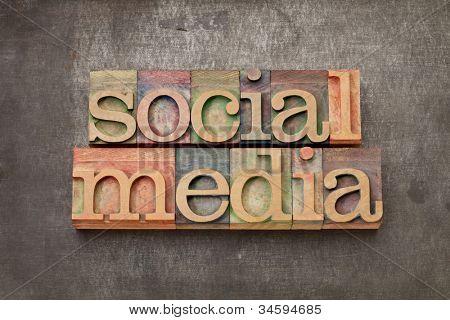 social media - internet networking concept - text in vintage letterpress wood type against grunge metal surface