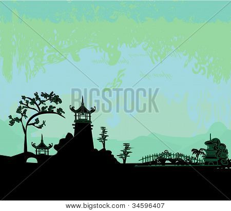 old paper with Asian Landscape , vector illustration