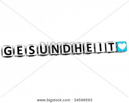3D Health In German Language Button Click Here Block Text