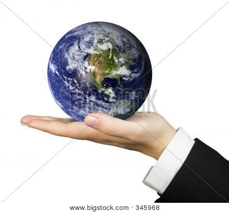 Business Hand Holding Earth