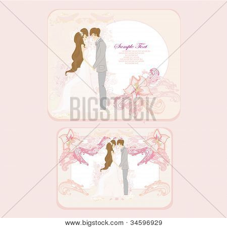 elegant wedding invitation with wedding couple set , vector illustration