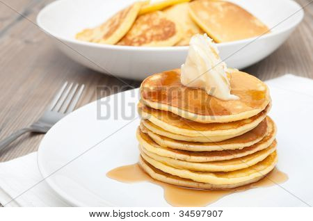 Pancakes With Butter And Maple Syrup