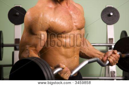 Nahaufnahme eines sportlichen Menschen Aufhebung Gewichte