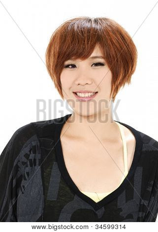 Closeup portrait of yong woman posing in studio