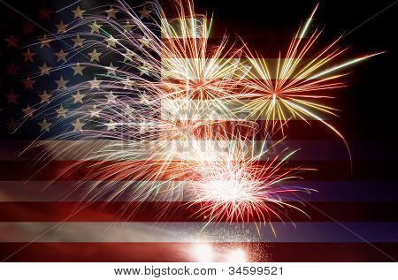 Usa Flag With Fireworks