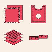 Set Tape Measure, Textile Fabric Roll, Sewing Pattern And Textile Fabric Roll Icon. Vector poster