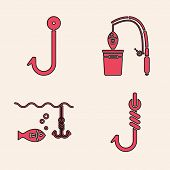 Set Fishing Hook, Fishing Hook, Fishing Rod And Fish And Fishing Hook Under Water With Fish Icon. Ve poster
