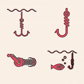 Set Fishing Hook Under Water With Fish, Fishing Hook Under Water, Fishing Hook And Spinning Reel For poster