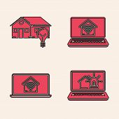 Set Laptop With Smart House And Alarm, Smart House And Light Bulb, Laptop With Smart Home With Wi-fi poster