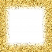 Realistic Golden Confetti Square Frame Isolated On White Background. Shiny Festive Serpentine Bright poster