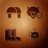Set Hunt On Bear With Crosshairs, Hunter Hat, Hunter Boots And Hunt On Bear With Crosshairs On Woode poster