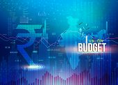 India Union Budget, Indian Economy, Finance Background, Indian Rupee Blue Abstract Background With I poster