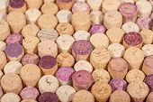 Closeup View Of Used  Wine Cork Stoppers, Used Wine Corks Texture poster
