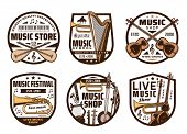 Music Instruments, Live Concert And Folk Band Festival, Sound Equipment Shop Icons. Vector Music Ins poster