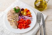 Juicy Chicken Fillet Cooked Under Vacuum At Low Temperature. Sliced Chicken Breast, Fresh Pepper, On poster