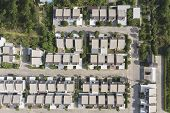 Aerial View Of A Housing Estate Village Landscape By Drone.residential Roofs Architecture Decoration poster
