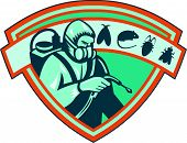 foto of shield-bug  - Retro Illustration of a pest control exterminator worker spraying with rat mice mouse flybugcockroach set inside shield on isolated white background - JPG